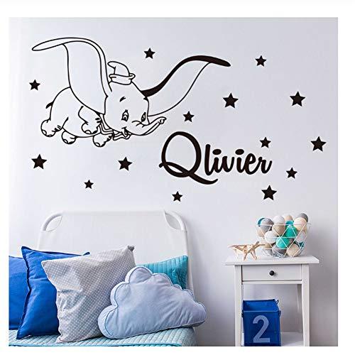 Cartoon Dumbo Star Wandtattoo Kinderzimmer Schlafzimmer Personalisierte Name Dumbo Tier Wandaufkleber Kindergarten Vinyl Decor 57x103 cm