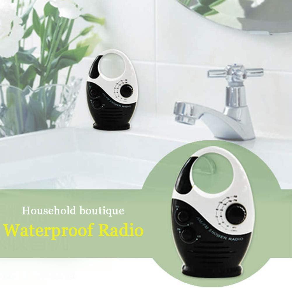 radio AM FM impermeable con mango superior colgante negro mini radio de ba/ño a prueba de salpicaduras para exteriores Radio de ducha