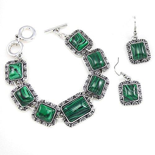 Daeou armbanden voor dames groene malachiet oorbel armband tweedelige set sieraden