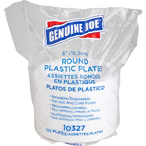 Genuine Joe GJO10327 6' White Plastic Plates, Reusable/Disposable, For Hot or Cold Food, 125 Plates