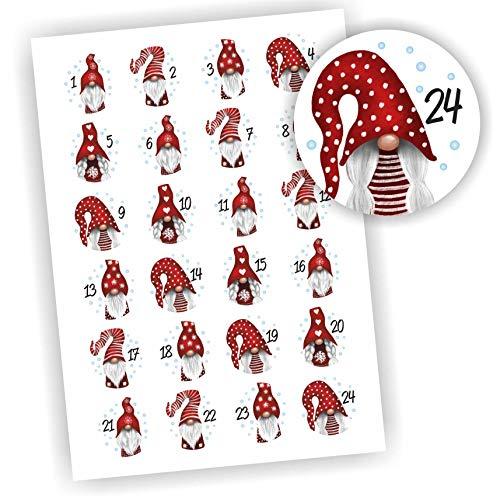 Play-Too 24 Aufkleber Adventskalender Zahlen Fest Weihnachten Aufkleber Sticker DIY Wichtel rote Mütze