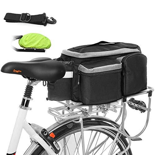 XianJu Bici Borsa Posteriore,Grande capacità Bike Bag Bici Portatile Bicicletta Sacchetto con Strisce Riflettenti per MTB,Outdoor,Touring e Ciclismo (13L).