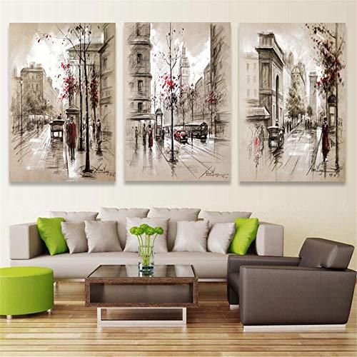 WSNDG Home art decoratie olie schilderij muurschildering triple abstracte stad straat canvas schilderij zonder fotolijst 40 * 60cm*3(no frame) A1