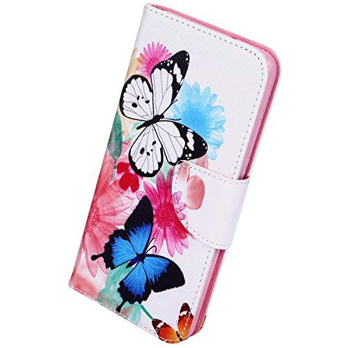 Herbests Kompatibel mit Huawei P20 Lite 2019 Lederhülle Handyhülle Bunt Muster Ledertasche Bookstyle Klapphülle Wallet Flip Case Cover Schutzhülle Magnetverschluss,Schmetterling