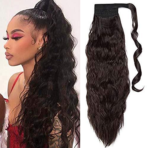 """Ponytail Clip in Pferdeschwanz Zopf Extension Haarteil Haarverlängerung Hair Piece Corn Wavy gewellt wie Echthaar Dunkelbraun 20\""""(50cm)"""