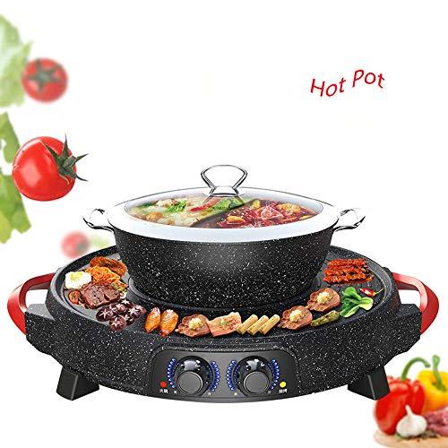 GSAGJhg Parrilla eléctrica con Hot Pot, Antiadherente de Revestimiento de Superficie, Tapa Caliente Crisol con Cristal, 1800W