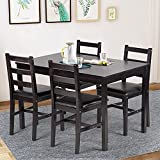 Dining Table Set Pine Kitchen Table and Chairs for Dining Room Table Set,Wood Elegant Kitchen Sets for Small Space Wood Kitchen Dinette Table with 4 Chairs Dark Brown