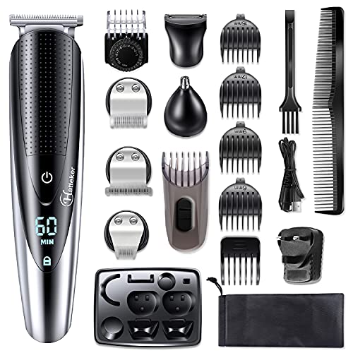 Hatteker Beard Trimmer Hair Clippers Mustache Trimmer Shavers for Men Hair Trimmer Nose Trimmer Body Trimmer 5-in-1 Cordless Haircut Kit for Men Waterproof