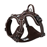 1. Easy to adjust and put on. Four adjustable straps allow a custom fit for your dog. 2. Vibrant Color & nylon strip with 3M reflective improve visibility at night. Soft padded in chest and belly for comfortable. 3. Two attachment points for extra co...