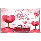 Probsin Valentines Day Flag 3x5 Feet Happy Valentine's Day Decorations Holiday Banner Red Truck Hill Tree Love Heart Poster with Brass Grommets for Indoor,Room Decor,Outdoor,Wedding,Gift,Store,Garden
