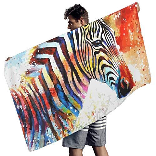 Perstonnoli Zebra Tiere Strandtuch Microfaser Strandtücher Leicht Strandhandtuch Badetuch Picknickdecke Stranddecke Yogamatte Teppich Rechteckig White 150x75 cm