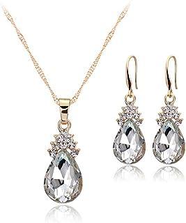 Bullidea Elegant Necklace Earrings Set Artificial Diamond Women Crystal Pendant Jewellery Water Droplets Shape