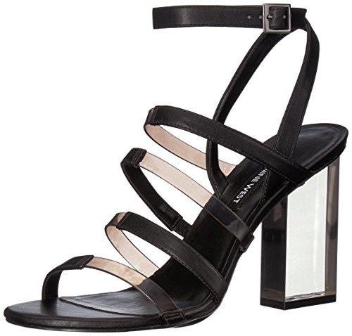 NINE WEST Women's FAZZANI Synthetic Heeled Sandal, Dark Grey, 11