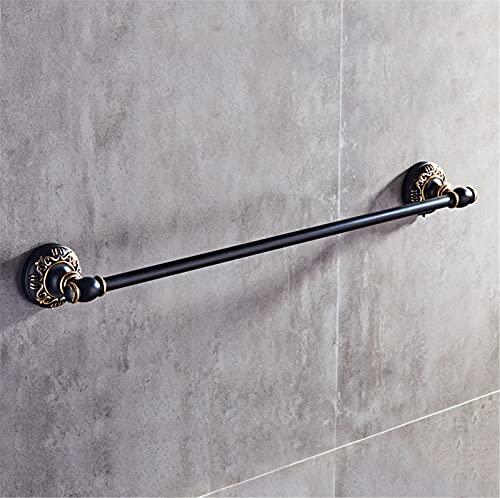 Toallero con toallero montado en la pared, con ventosa antigua SUS304 de acero inoxidable, acabado negro mate, 60 cm