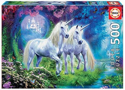 Educa - Unicornios en el Boque Puzzle, 500 Piezas, Multicolor (17648)