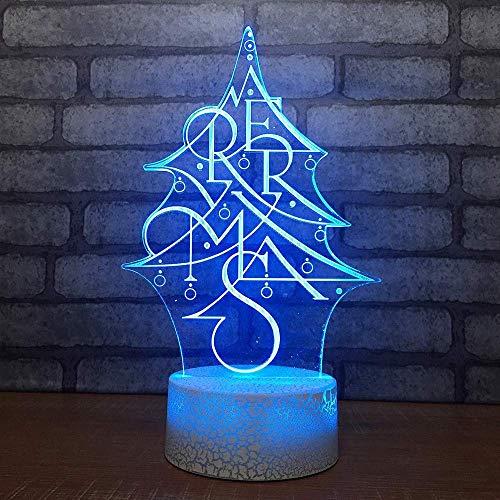 HYY-YY 7 Color cambiado Visual LED Navidad noche luz creativa árbol de Navidad modelado escritorio lámpara 3D USB niños, dormitorio sueño luz, regalo año