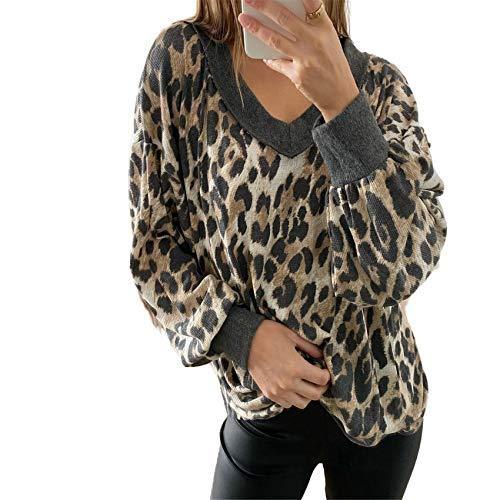 Mujer OtoñO/Invierno Cuello En V Manga Larga Jersey Estampado De Leopardo Camiseta Top Mujer