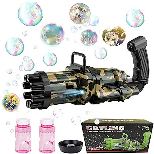 Pistola Sparabolle di Sapone, Bolle di Sapone Bambini a 8 Fori Automatica Bubble Gatling Gun con Illuminazione 2021, Pistola Bolle di Sapone per Giochi per Bambini Bolle di Sapone Matrimonio ecc.