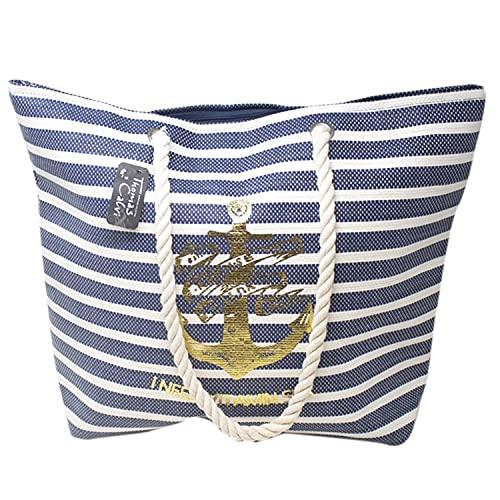 Thomas Calvi Bolsa de playa para mujer, grande, bolsa de viaje de lona de verano con cremallera, bolsa de compras para damas