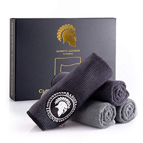 Barista Legends® Barista Tuch Set 4 Stück - 30x30cm Barista Lappen zum reinigen Ihres Kaffee Equipments - extrem saugstarke Barista Lappen für Dampflanze und Siebträgermaschine.