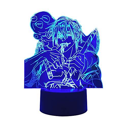 Lámpara 3D Anime Jujutsu Kaisen - 16 colores con control remoto, luz de noche LED Satoru Gojo para decoración de dormitorio, regalo de cumpleaños