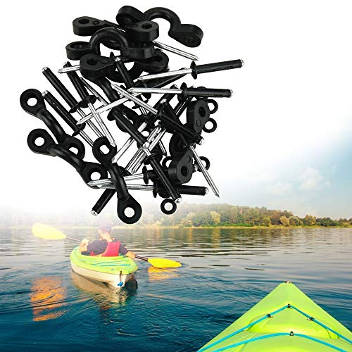 DECARETA 10 Pcs Kayak Nylon Bungee Deck Loops Tie Down Kayak Pad Eye with Rivets,Kayak Pad Eye Tri-Grip Rivet Kit Replacement Parts for Kayaks,Canoes or Boats