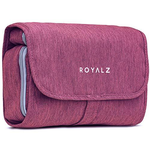 ROYALZ Beauty case con gancio da donna, uomo e bambino - per viaggi ed escursioni come Porta trucchi Trousse Borsa da bagno - 100% poliestere impermeabile, Colore:Viola