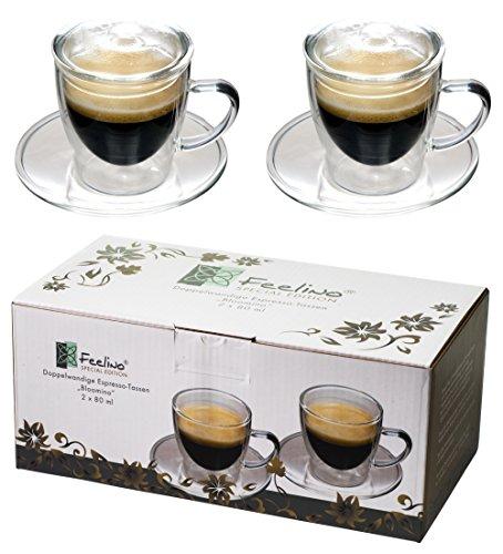 Feelino 2X 80ml doppelwandige Espresso-Tassen + 2 GLASDECKEL, modern, elegant und edel für Ihren ganz besonderen Espresso - Zeitloses Design in toller Verpackung, auch als Geschenk geeignet, by (R)