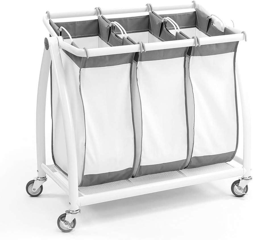 Seville Bombing free shipping Classics Laundry Hamper Sorter Cart Max 56% OFF 3-Bag Premium Mobile