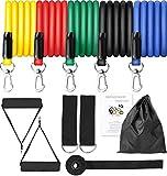 BIGFOX 11PCS Set di Fasce di Resistenza,Bande Elastiche Fitness,Elastici Palestra Fino a 150 lbs- 5 Fasce Elastiche Fitness,6 Accessori per Porta, Pilates,Yoga.