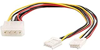 C2G 03165 One 5.25 Inch to Two 3.5 Inch Internal Power Y-Cable, Multi-Color (10 Inch)