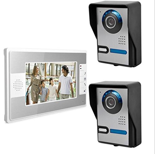 FOOSKOOML Video Deur Telefoon Deurbel Intercom Systeem Video Deurbel 7-inch Bedraad Digitale HD kleur High Definition Telefoon Deurbel 2 Outdoor Unit Set Regendicht