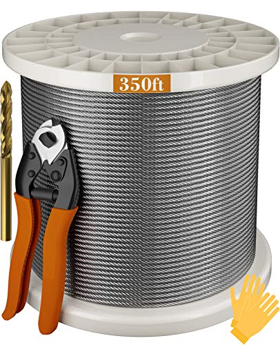LEOPO 1/8' T316 Stainless Steel Cable, 7 x 7 Strands Construction, Fence Cable for Deck Railing, 350FT, Come with Cutter & Drill Bit & Gloves