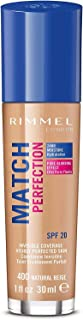 Rimmel London Match Perfection Foundation Base de Maquillaje Tono 400 Natural Beige - 123 gr