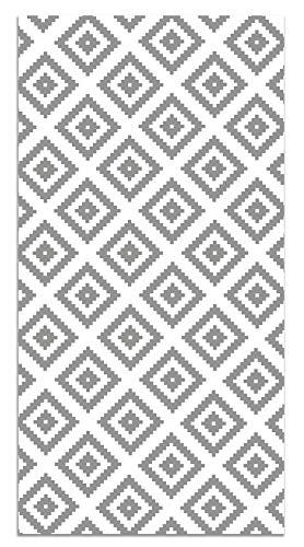 Panorama Vinylteppich Grau Quadrate 80x150 cm - Kitchen Floor Mat Küchenmatte - Rutschfestes Flammhemmend - Groß Teppich - Teppiche PVC