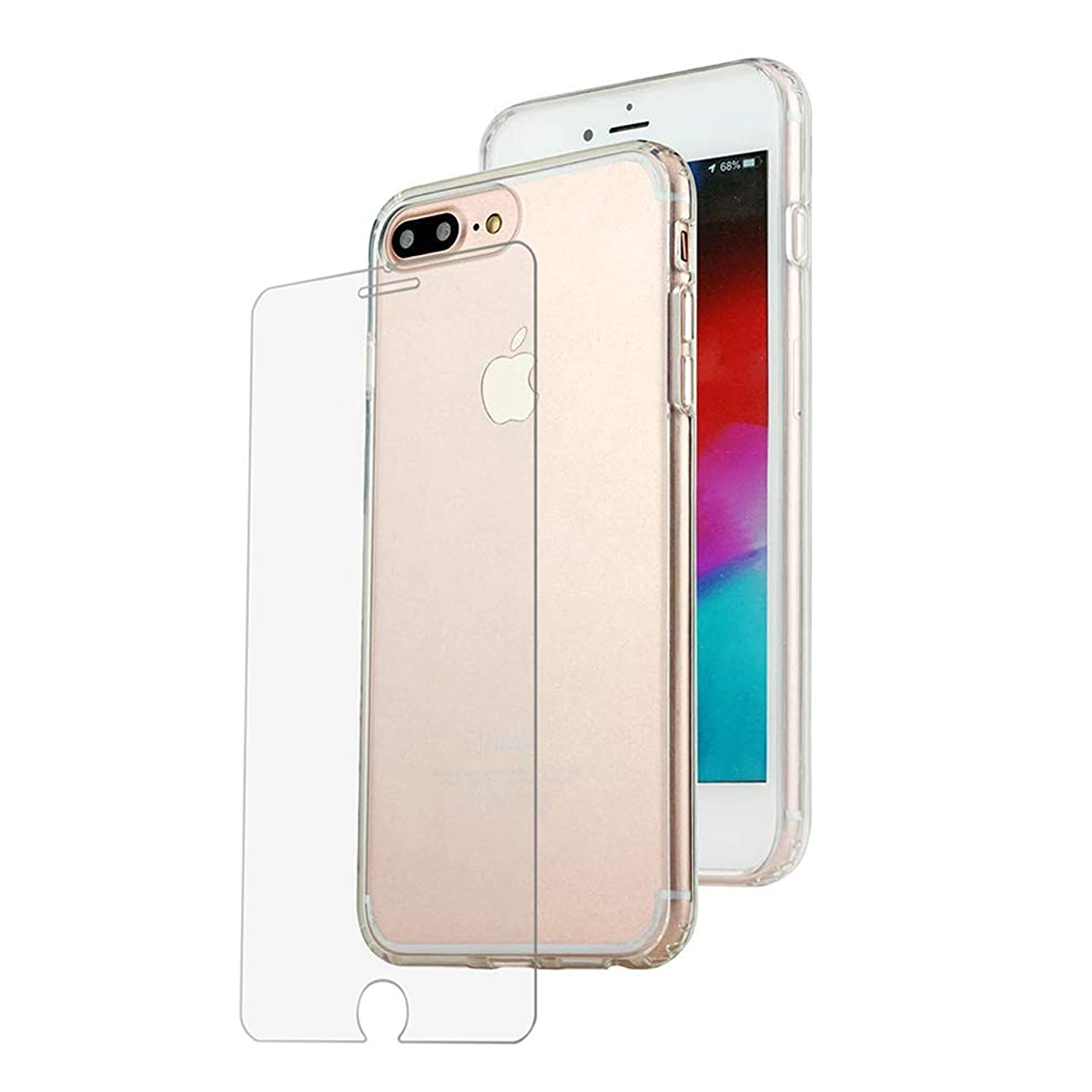 Tuff by Momo Apple iPhone 8 Plus and iPhone 7 Plus Ultra Hybrid Slim Clear Case with Screen Protector, 5.5 Inch, Drop Proof tested, Shock-Absorption Bumper Cover Protection, Anti-Scratch PC Clear Back