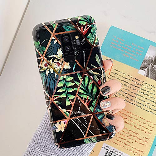 Uposao Kompatibel mit Samsung Galaxy S9 Plus Marmor Hülle Case Glitzer Marmor Blumen Muster Weiche TPU Silikon Ultra Dünn Hülle Schutzhülle Kratzfest TPU Bumper Handytasche Case Cover,Schwarz