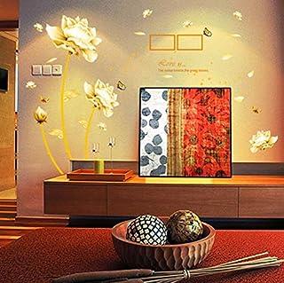 Fleurs dorées Sticker mural Papillons pour la décoration DIY Salon TV Canapé Fond Stickers Muraux stickers145 * 165 cm