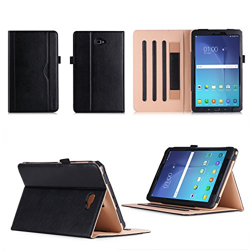 VOVIPO Premium Leather Cover Stand Case Compatible with Samsung Galaxy Tab A6 10.1 T580 / T585 with Hand Strap and Corner Protection