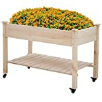 Raised garden bed with legs 48x23x32 inch wheels elevated garden bed wood planter box kit for vegetable flower outdoor… 8 ✔【high quality materials】:the raised garden bed is made of no paint, garden bed use non-toxic fir wood, which is known for its strength and dimensional stability as well as its natural resistance to rot and pests. The 0. 6'' thick solid wood boards are only sanded to prevent any undesired injury caused by wood splinters. ✔【nature gardening buddy】:the garden bed use natural wood color makes your garden and greenhouse more original and healthy, and its natural wood grain on the boards bring a rustic and natural style to your garden. ✔【ergonomic design】:the garden bed built with a set of locking wheels to move the planter from place to place. The wood garden bed user-friendly design,the height about garden raise bed is 32. 3 inch, the people who have a backache or knee pain can easily manage plants,you don't need to bend down or keep down.