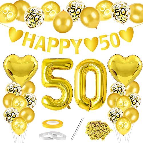 Goldene Hochzeit Luftballon, 50. Hochzeitstag Luftballons, Goldene Luftballons Deko Set, 38 Stück Goldene Hochzeit Feier Jubiläum Ballons, für Silberne Hochzeit Feier Jubiläum Luftballons Deko
