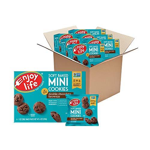 Enjoy Life Mini Double Chocolate Brownie Soft Baked Cookies, Nut Free Cookies, Vegan, Gluten Free, 6 Boxes (6 Snack Packs Each)
