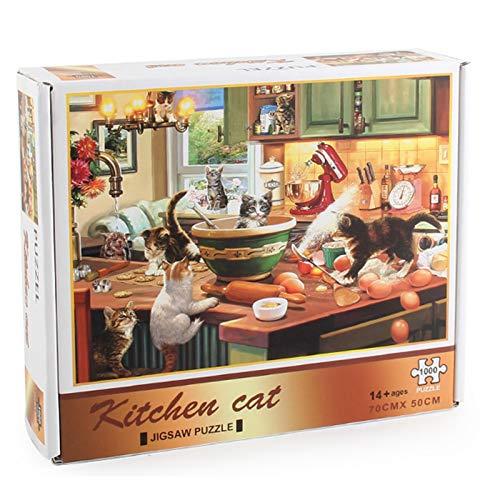 Puzzle 1000 Teile, Puzzle für Erwachsene Kinder, Puzzle Erwachsene anspruchsvoll, Geschicklichkeitsspiel für die ganze Familie, Puzzle für Tier, Erwachsenenpuzzle 1000-teiliges Katze Vogel