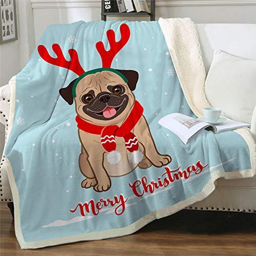 Manta de Tiro de Sherpa con Estampado Cachorro Disfrazado para Navidad Manta Pelo Sper Suaves y Clidas Manta Peluche Franela de Doble Cara para Cama, sof y Viaje y Acampar 130X150CM