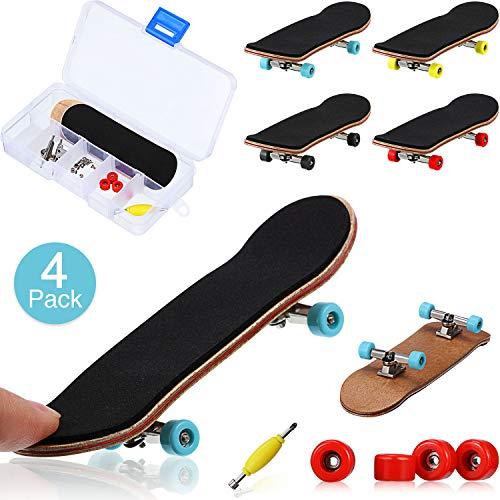 4 Stück Mini Fingerboards Holz Skateboard Finger Skateboard Holz Finger Board Kreativ Fingerspitzen Bewegung Party Gefallen