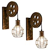 Retro Wall Light Fixtures, 2Pack Antique Bronze Vintage Wall Lighting Hardwired Plug in Industrial Lantern Retro Lamp Metal Wall Sconce for Bedside Bedroom Home Dining Room