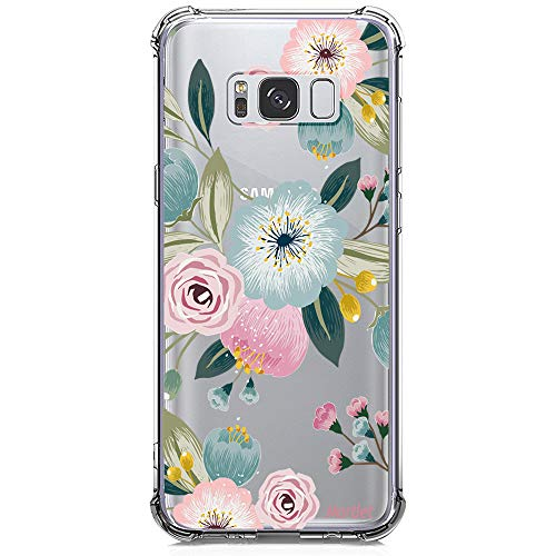 Galaxy S8 Case for Girls, Clear with Design Floral Cute Pattern Print Bumper Corners Shockproof Protective Case for Samsung Galaxy S8 5.8 Inch Flowers Flexible Soft Rubber Cover Heavy Duty Slim Fit