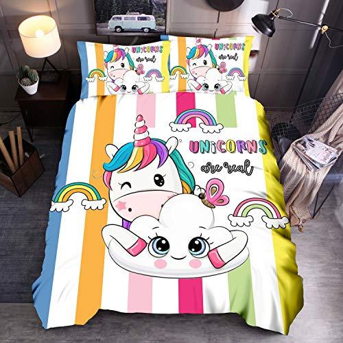Kibi - Juego de ropa de cama infantil, funda nórdica con diseño de unicornio, funda nórdica de microfibra con cierre de cremallera, funda nórdica de 135 x 200 cm y 2 fundas para cama individua
