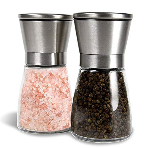 Miuly Pfeffermühle und Salzmühle Set mit Einstellbarer Keramikmühle, Auch als Chilimühle, Salz und Pfeffermühle aus Hochwertigem Edelstahl (2 Stück)