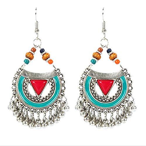 Orecchini pendenti a goccia stile bohémien etnico fatto a mano con perline smaltate e smaltate, idea regalo elegante